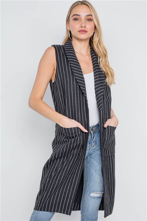 Black Sleeveless Stripe Open Front Vest Jacket