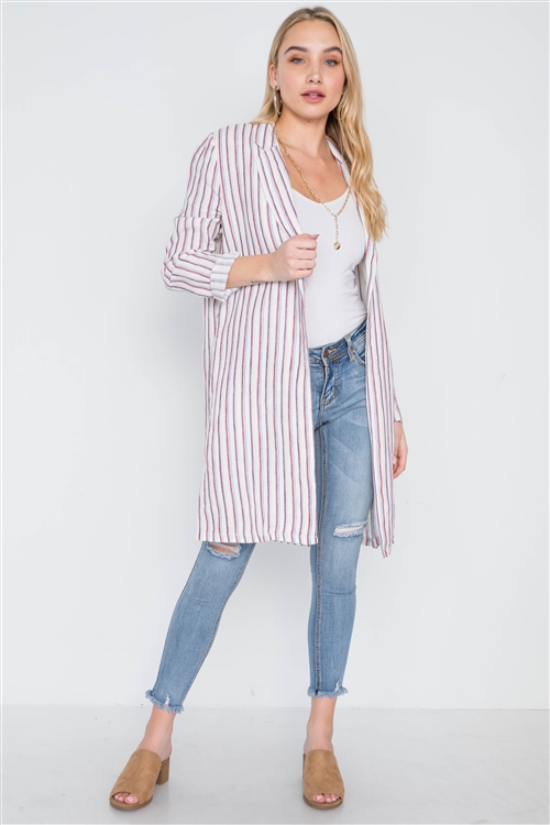 Natural Blue Open Front Stripe Long Sleeve Coat