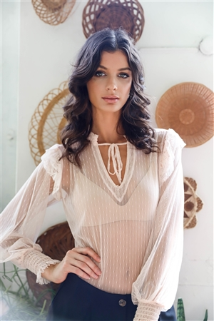 Blush Sheer Mesh Polka Dot Frill Trim Long Sleeve Bodysuit /3-2-1