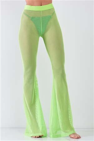 Neon Green Sheer Tennis Net Mesh High Waist Bell Bottom Pants /2-2-2-1