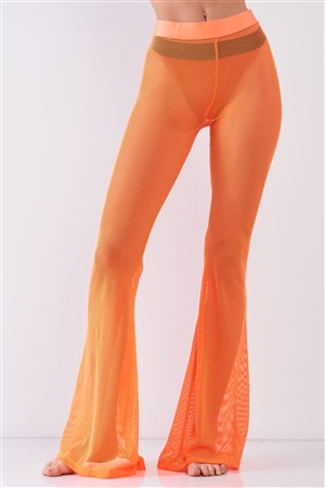Neon Orange Sheer Tennis Net Mesh High Waist Bell Bottom Pants /2-2-2-1