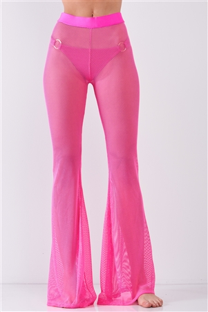 Neon Pink Sheer Tennis Net Mesh High Waist Bell Bottom Pants /2-2-2-1