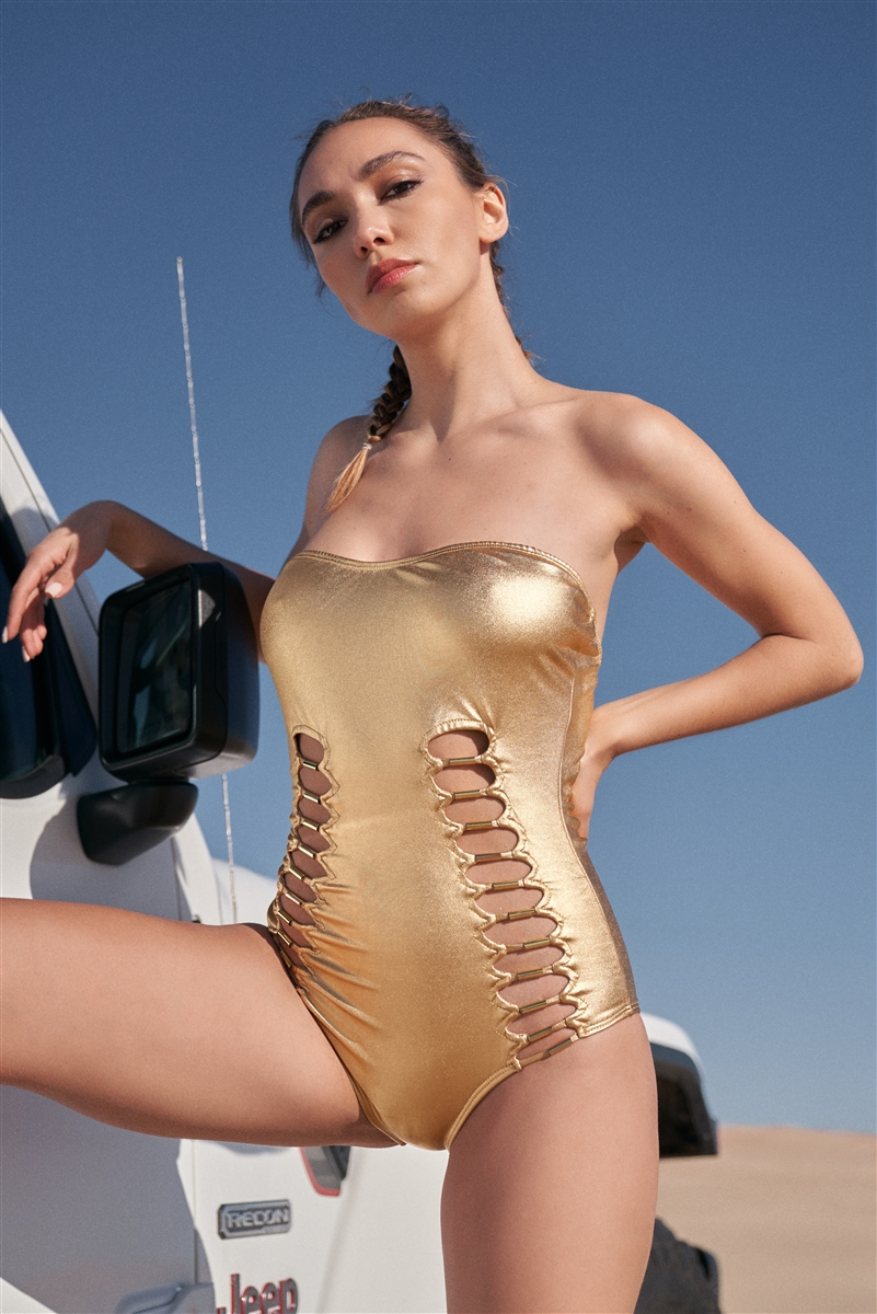 Metallic Gold Cobra Tube Hardware Front Detail Strapless One-Piece Swimsuit