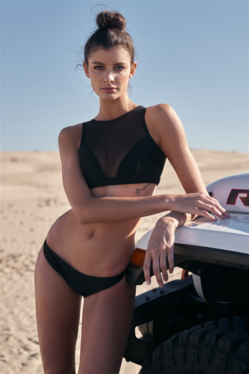 Black High-Neck Sheer Mesh Top & Low-Rise Hipster Bikini Bottom  Two-Piece  Swimsuit /1-2-2