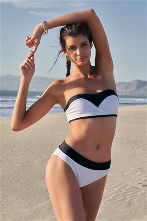 Black & White Color Block Strapless Tube Top & Mid-Rise Cheeky Bottom Two-Piece Bikini Set