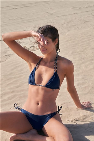 Navy & Gold Self-Tie Back And Neck Triangle Bikini Top & Side Self-Tie Bikini Bottom Two-Piece Swimsuit
