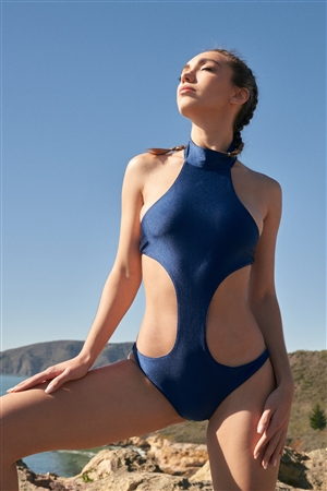 """Blue Whale"" Glossy Navy High Neck Cut-Out Gold Ring Side Detail Cheeky One Piece Swimsuit"