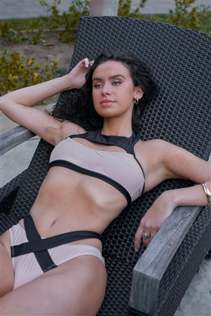 Nude & Black High Neck Cut-Out Top & High Leg Criss-Cross DetailBottom Sporty Bikini Set /2-2-1
