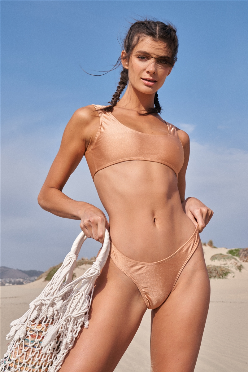 Butterscotch Minimalistic Glossy Sleeveless Sports Top & High Waist Bottom Two-Piece Bikini Suit /2-2-1-1