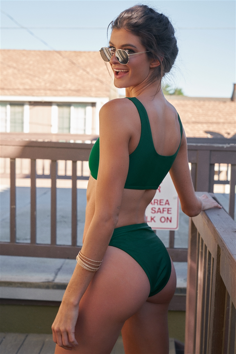 Emerald Minimalistic Glossy Sleeveless Sports Top & High Waist Bottom Two-Piece Bikini Suit /1-1-2-1-1