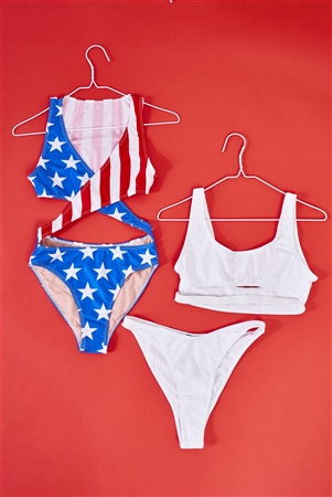 American Girl Flag Print Criss-Cross Front V-Neck Cut-Out Detail Open Back One-Piece Swimsuit /1-3-1