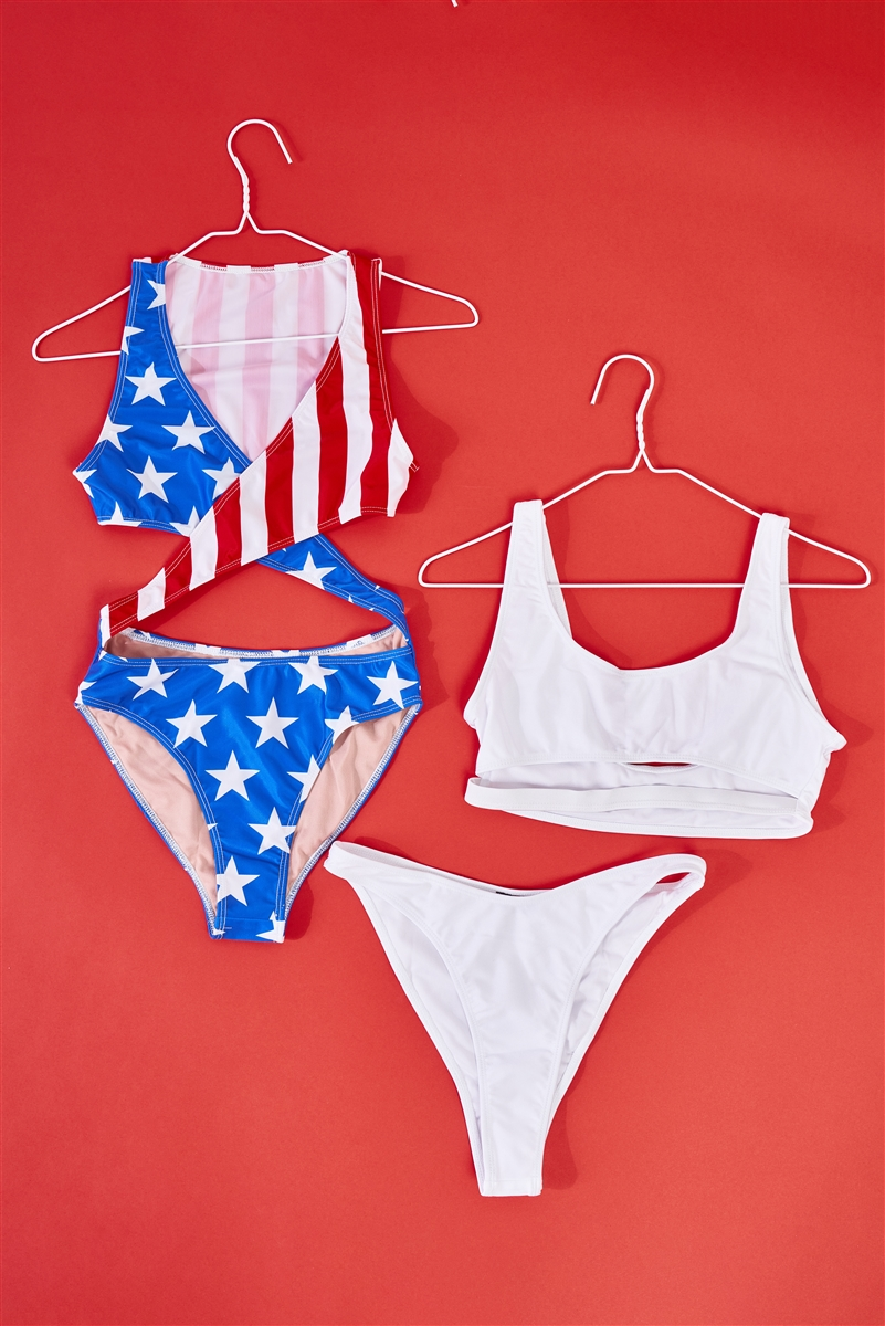 American Girl Flag Print Criss-Cross Front V-Neck Cut-Out Detail Open Back One-Piece Swimsuit