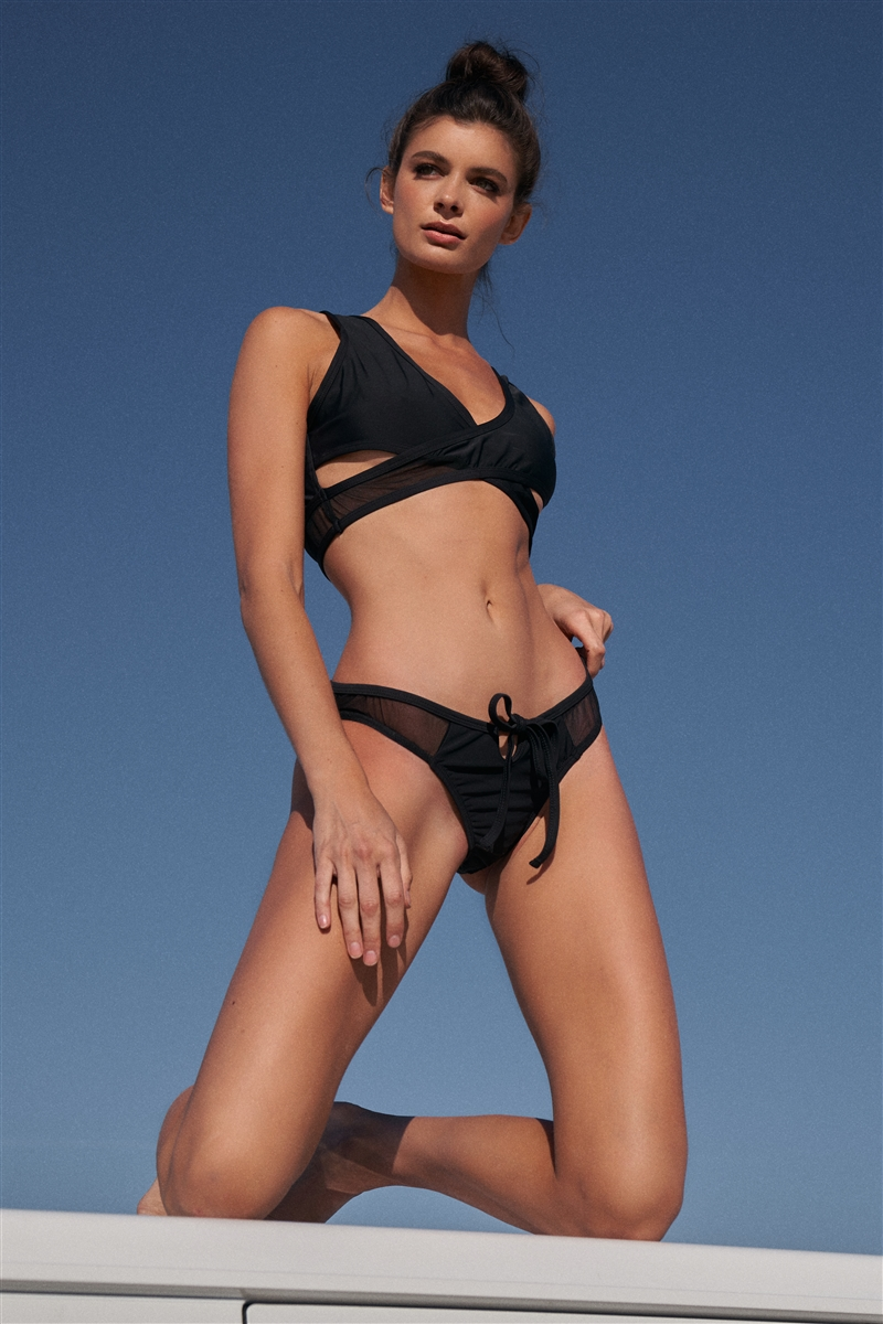 Black Mesh Twisty Front Sporty Open Back Top & Mesh Self-Tie Front Detail Bottom Bikini Set