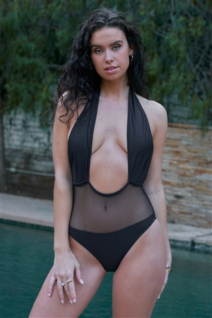 Black Mesh Cut-In Front Detail Deep Plunge Halter-Tie Neck Open Back One-Piece Swimsuit