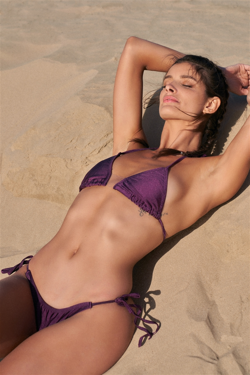 Eggplant Purple Halter Triangle Clear Front Detail Top & Self-Tie Bottom Bikini Set /2-2-1-1