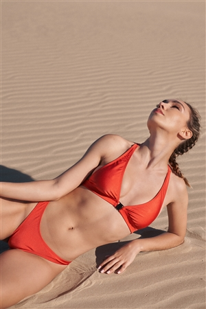 Dark Orange Racer Back V-Neck Triangle Clasp Front Closure Two-Piece Bikini Set /2-2