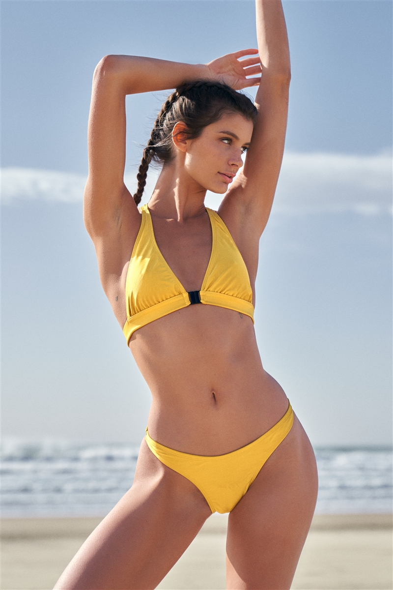 Mustard Racer Back V-Neck Triangle Clasp Front Closure Two-Piece Bikini Set /2-2-1-1