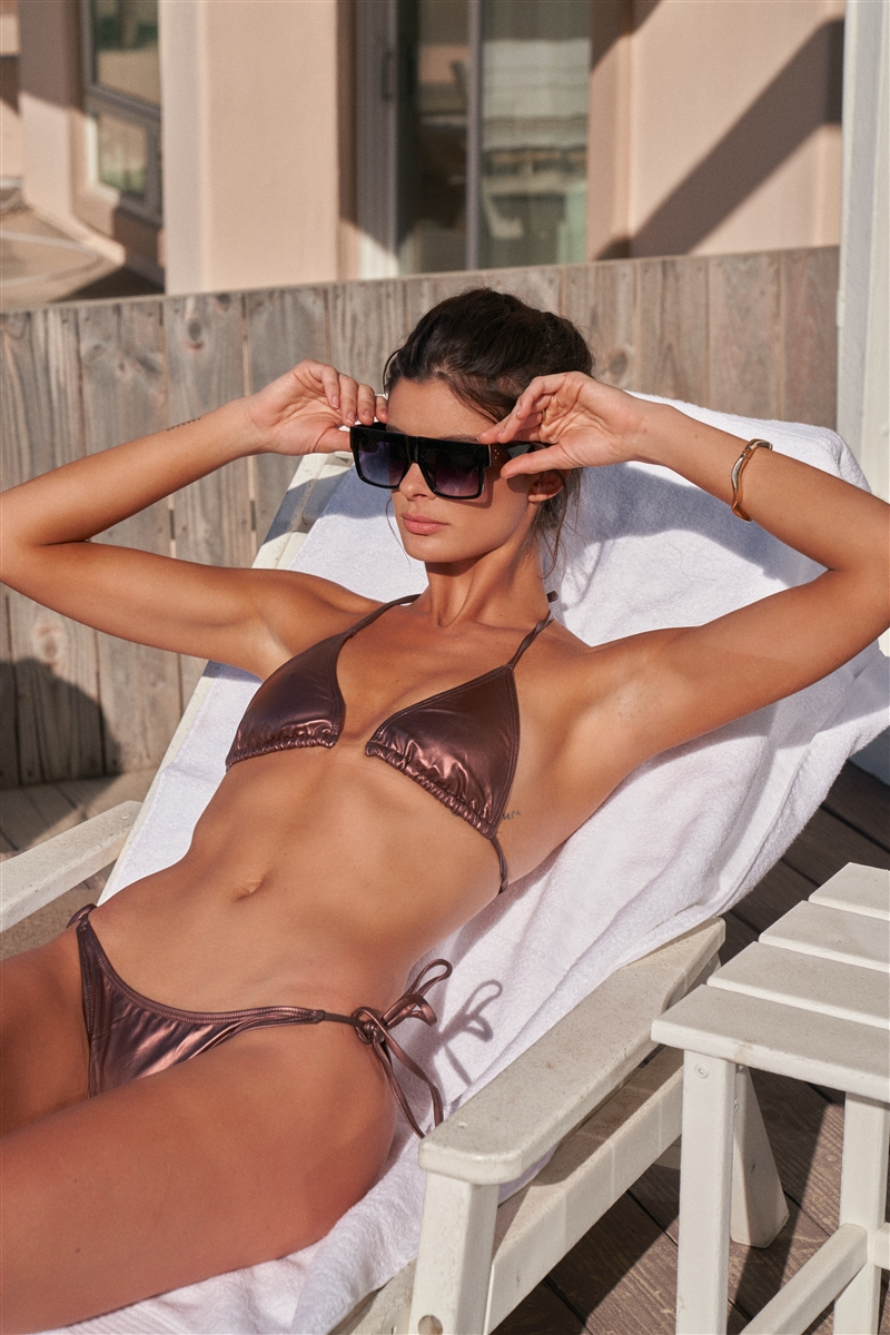 Matte Bronze With Rose Gold Tint Clear Front Detail Self-Tie Top & Bottom Triangle Bikini Set