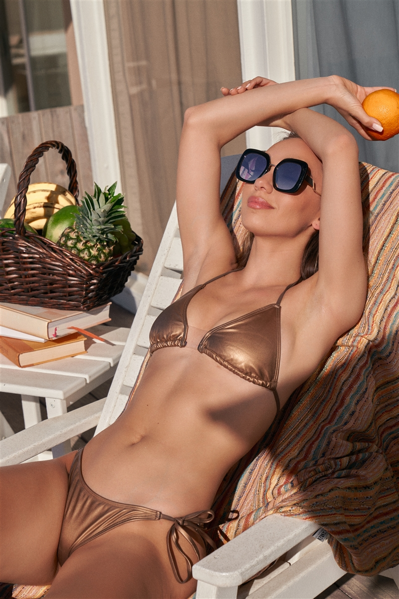 Matte Gold Clear Front Detail Self-Tie Top & Bottom Triangle Bikini Set
