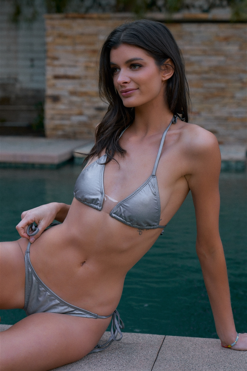 Matte Silver Clear Front Detail Self-Tie Top & Bottom Triangle Bikini Set /2-2-1-1
