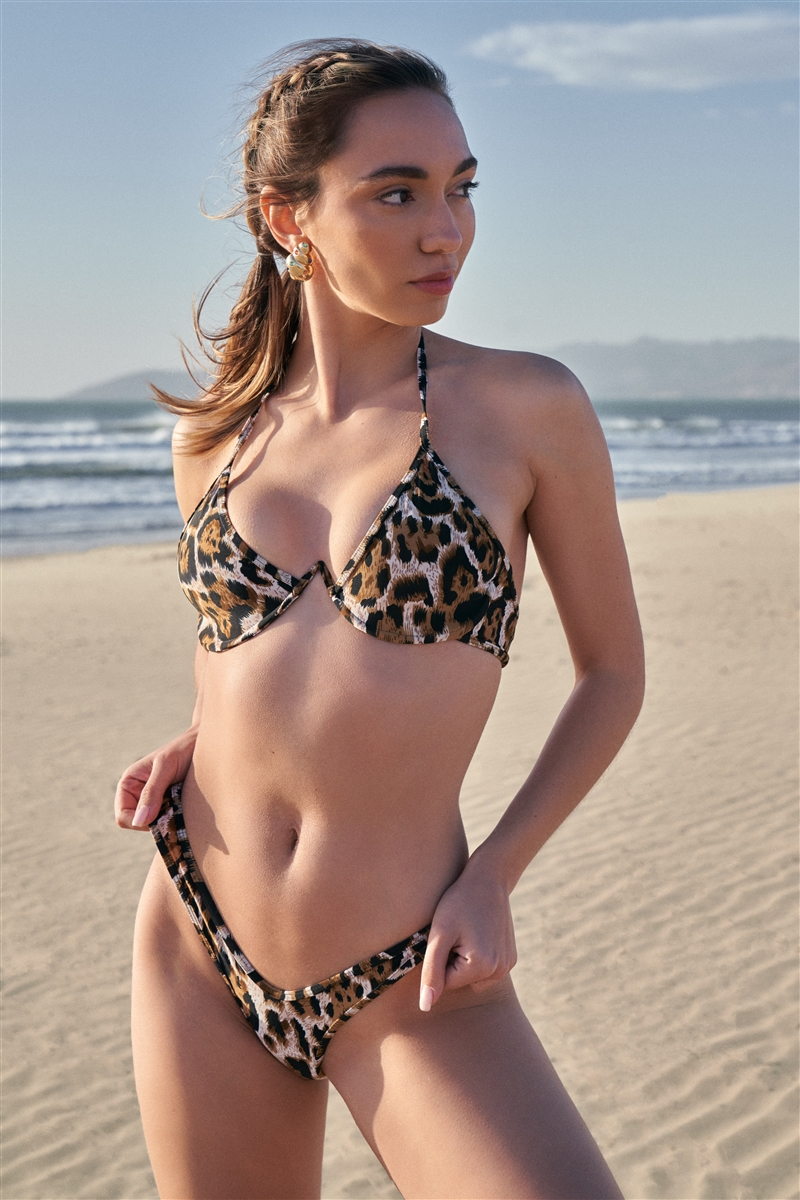 Leopard Underwire Halter Neck Top & High-Leg Brazilian Bottom Two-Piece Swimsuit