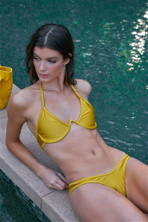 Yellow Underwire Halter Neck Top & High-Leg Brazilian Bottom Two-Piece Swimsuit /3-2-1