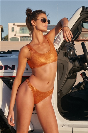 California Sunset Metallic Orange Scoop Neck Sports Two-Piece Bikini Suit /2-2-1-1