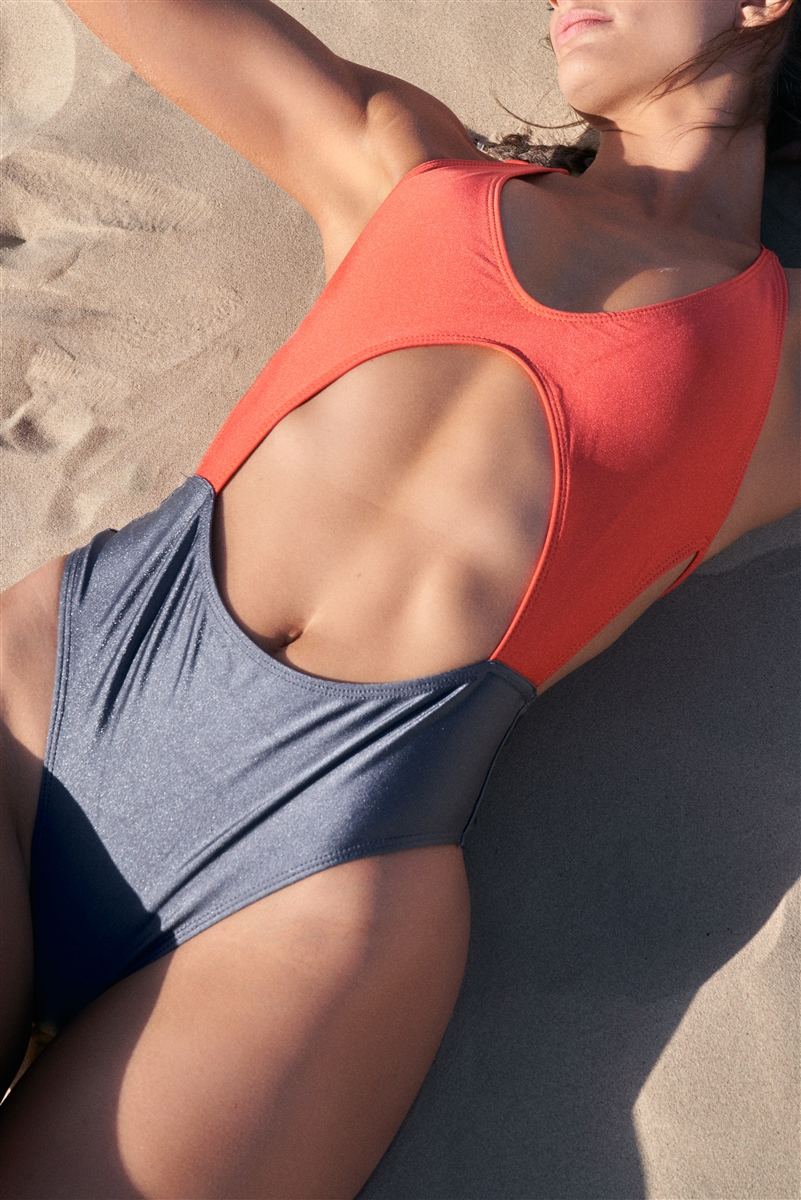 Dark Orange & Grey Colorblock V-Neck Front Cut-Out Open Back High-Leg One Piece Swimsuit /2-2-1