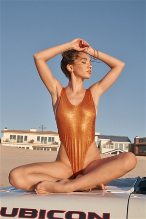 Metallic Orange Sleeveless Open Back High Leg One-Piece Swimsuit