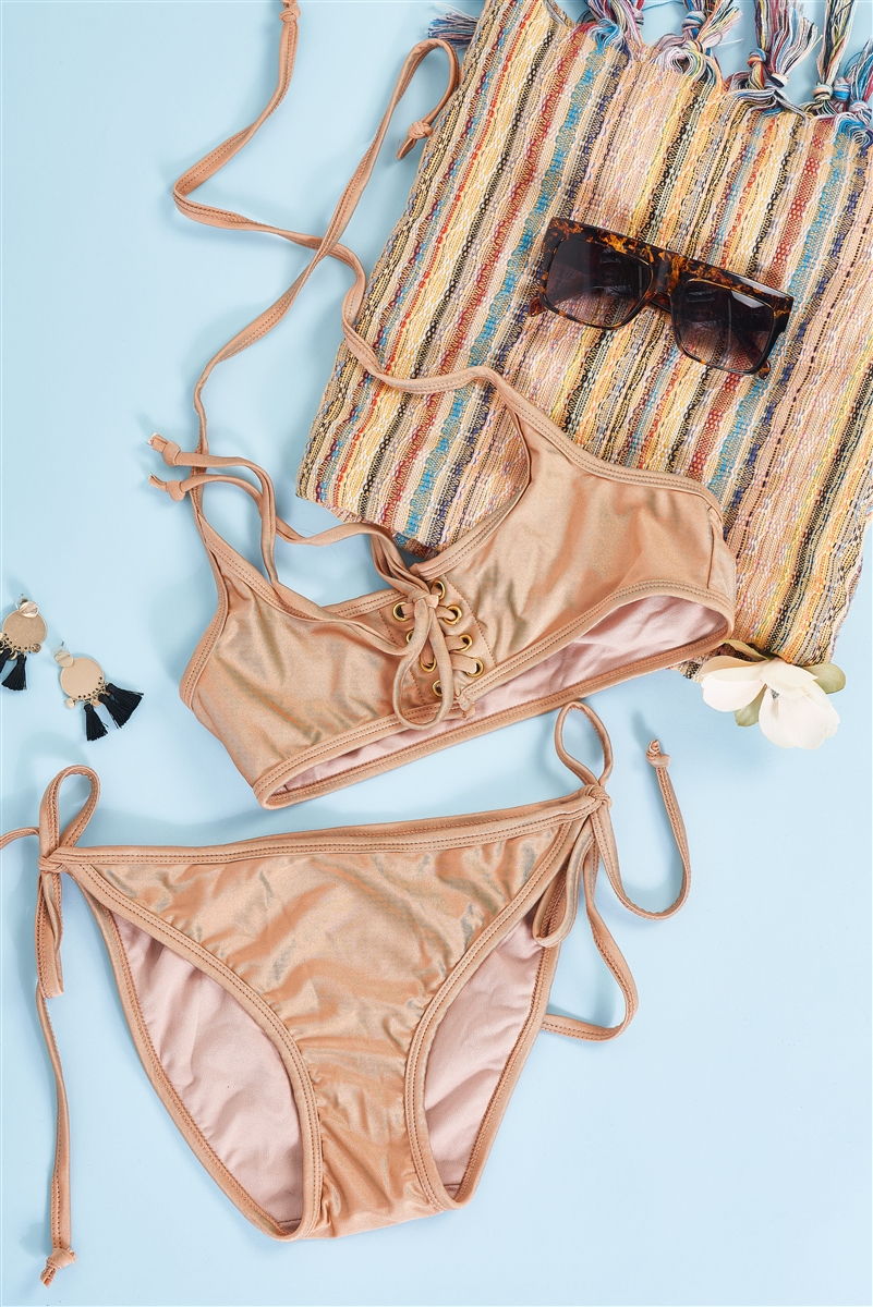 Butterscotch Self-Tie Halter Neck Corset Lace-Up Front Detail Top & Self-Tie Bottom Bikini Set /2-2-1-1