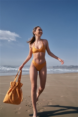 Adobe Yellow Soft V-Neck Strappy Back Sporty Top & High-Leg Bikini Bottom Two-Piece Swimsuit /2-2-1-1