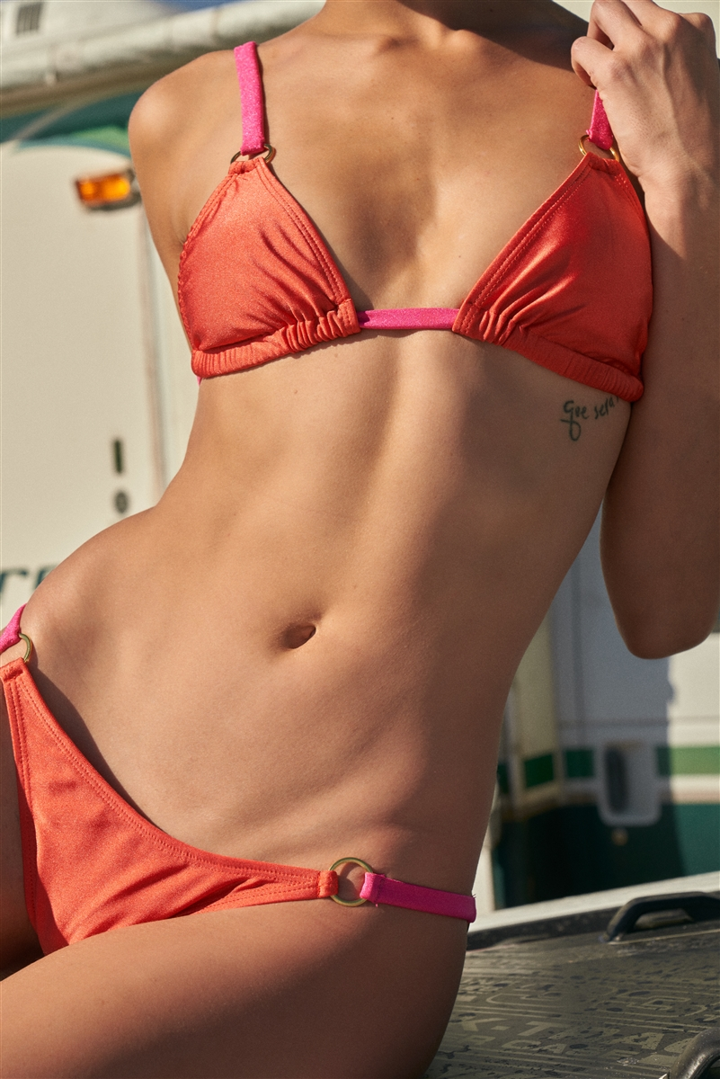 Dark Orange & Pink Triangle Shape Gold Ring Detail Open Back Top & Mid-Rise Bikini Bottom Swimsuit /2-2-1-1