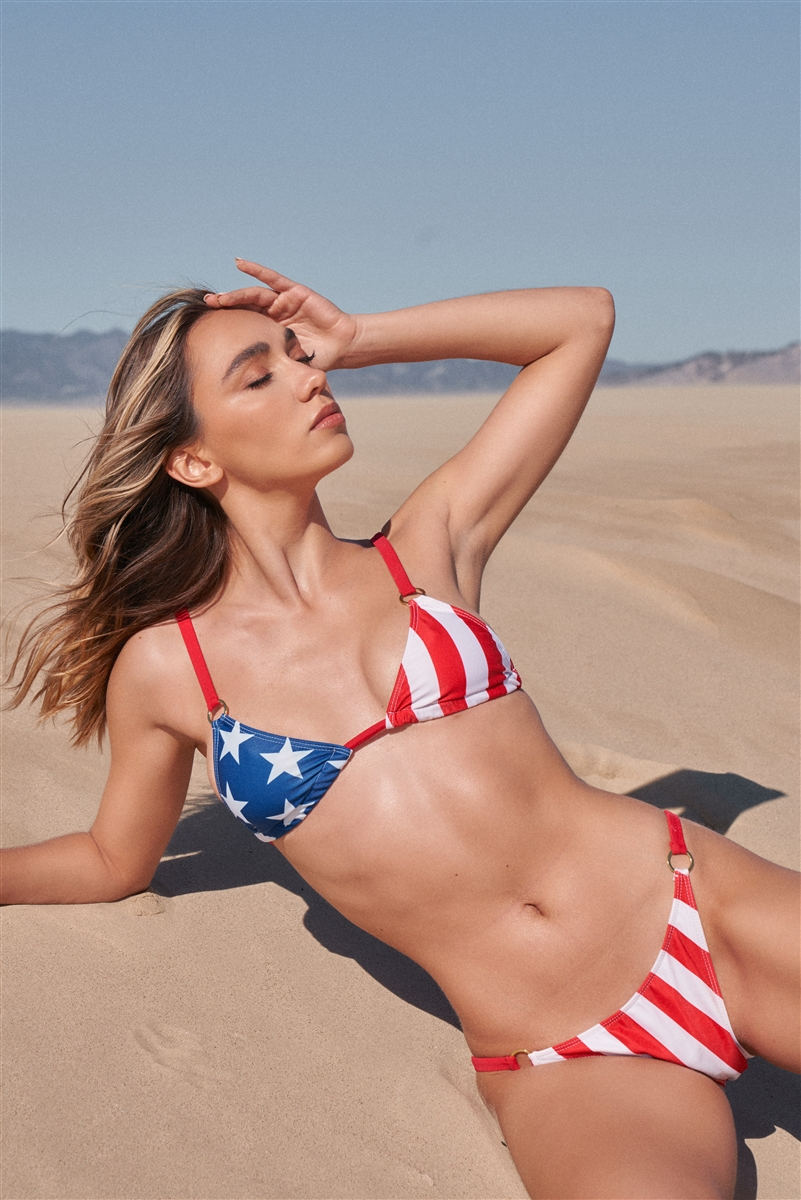 American Flag Triangle Shape Gold Ring Detail Open Back Top & Mid-Rise Bikini Bottom Swimsuit