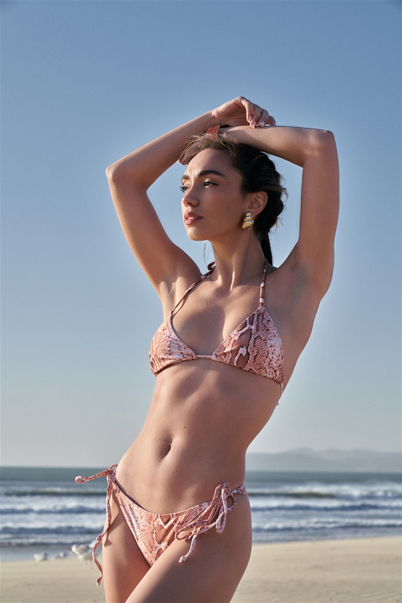 Brown Snake Triangle Shape Self-Tie Neck And Back Straps Top & Self-Tie Sides Bikini Bottom Two-Piece Swimsuit /2-1-1-1