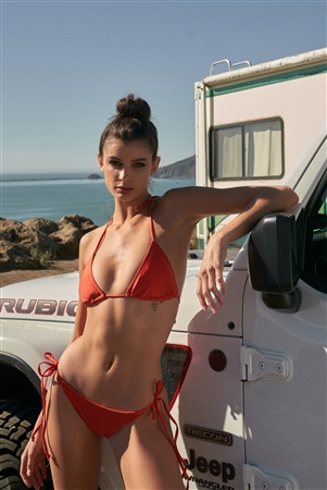 Dark Orange Triangle Shape Self-Tie Neck And Back Straps Top & Self-Tie Sides Bikini Bottom Two-Piece Swimsuit
