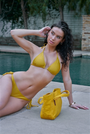 Yellow Triangle Shape Self-Tie Neck And Back Straps Top & Self-Tie Sides Bikini Bottom Two-Piece Swimsuit
