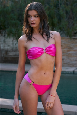 Hot Pink Glossy Golden Ring Link Detail Bandeau Top & Mid-Rise Bottom Bikini Set /2-2-1-1