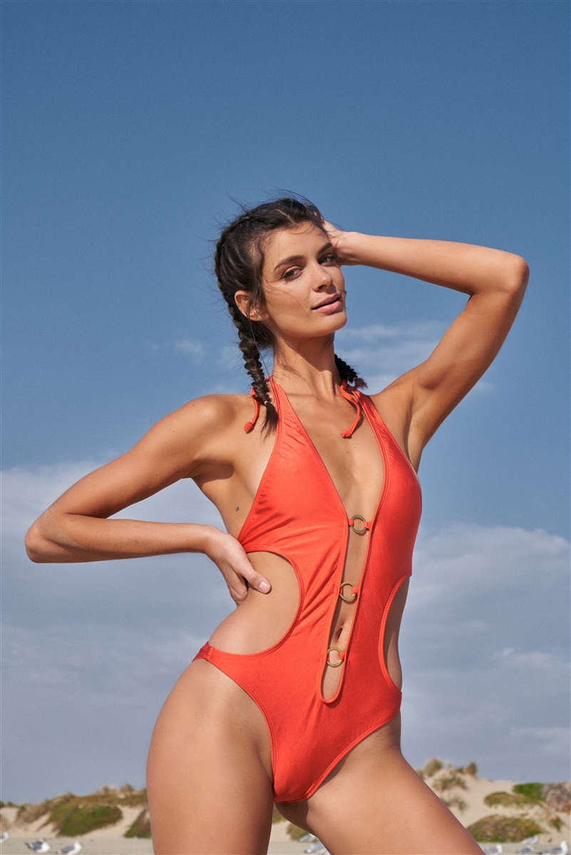 Dark Orange Halter Tie Split Front Golden Ring Detail Self-Tie Back One-Piece Swimsuit /2-2-1-1