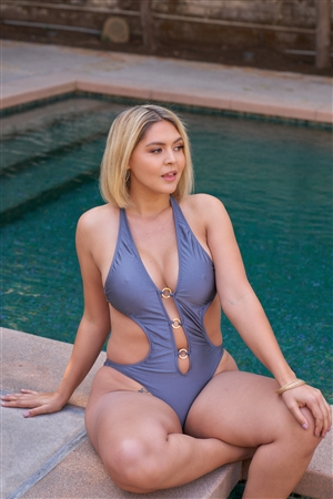 Junior Plus Titanium Halter Tie Split Front Golden Ring Detail Self-Tie Back One-Piece Swimsuit