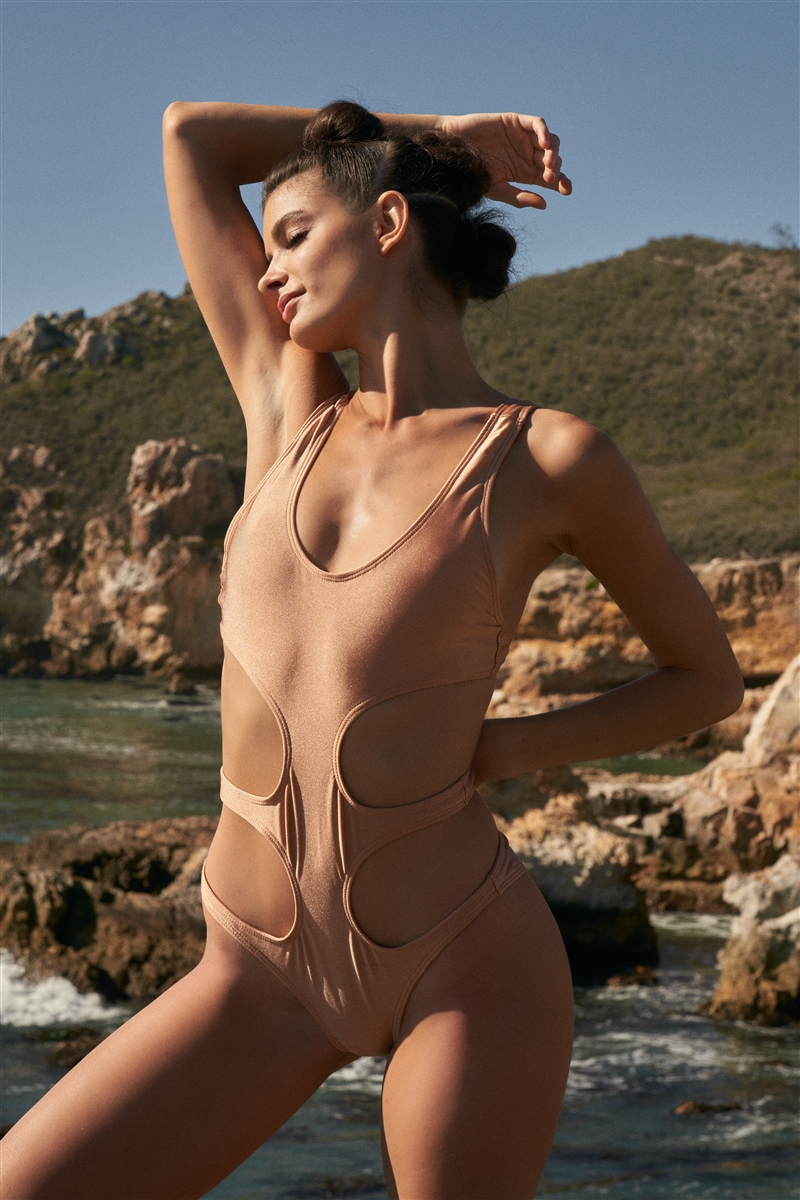 Butterscotch Round Neck Side Cut Out One-Piece Swimsuit
