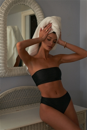 Black Satin Effect Strapless Bandeau Top & High Rise Bikini Bottom Swimsuit