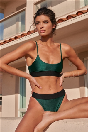 Hunter Green Round Neck Elasticated Ribbed Detail Tank Top & High-Waisted High-Leg Black Waist Detail Cheeky Bottom Two-Piece Swimsuit