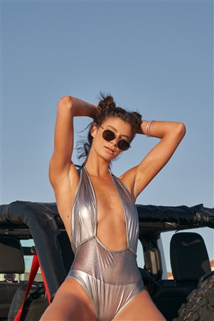 Matte Silver Mesh Cut-In Front Detail Deep Plunge Halter-Tie Neck Open Back One-Piece Swimsuit /2-2-1-1