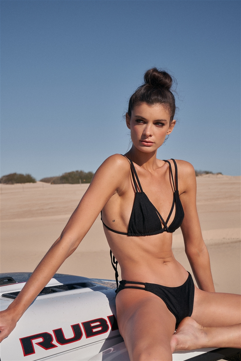 Black Double Strap Criss-Cross Triangle Top & High Hip Bottom Two-Piece Swimsuit