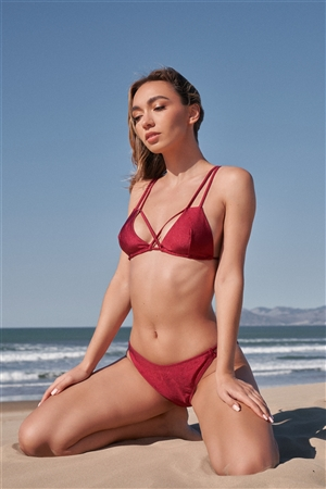 Burgundy Double Strap Criss-Cross Triangle Top & High Hip Bottom Two-Piece Swimsuit