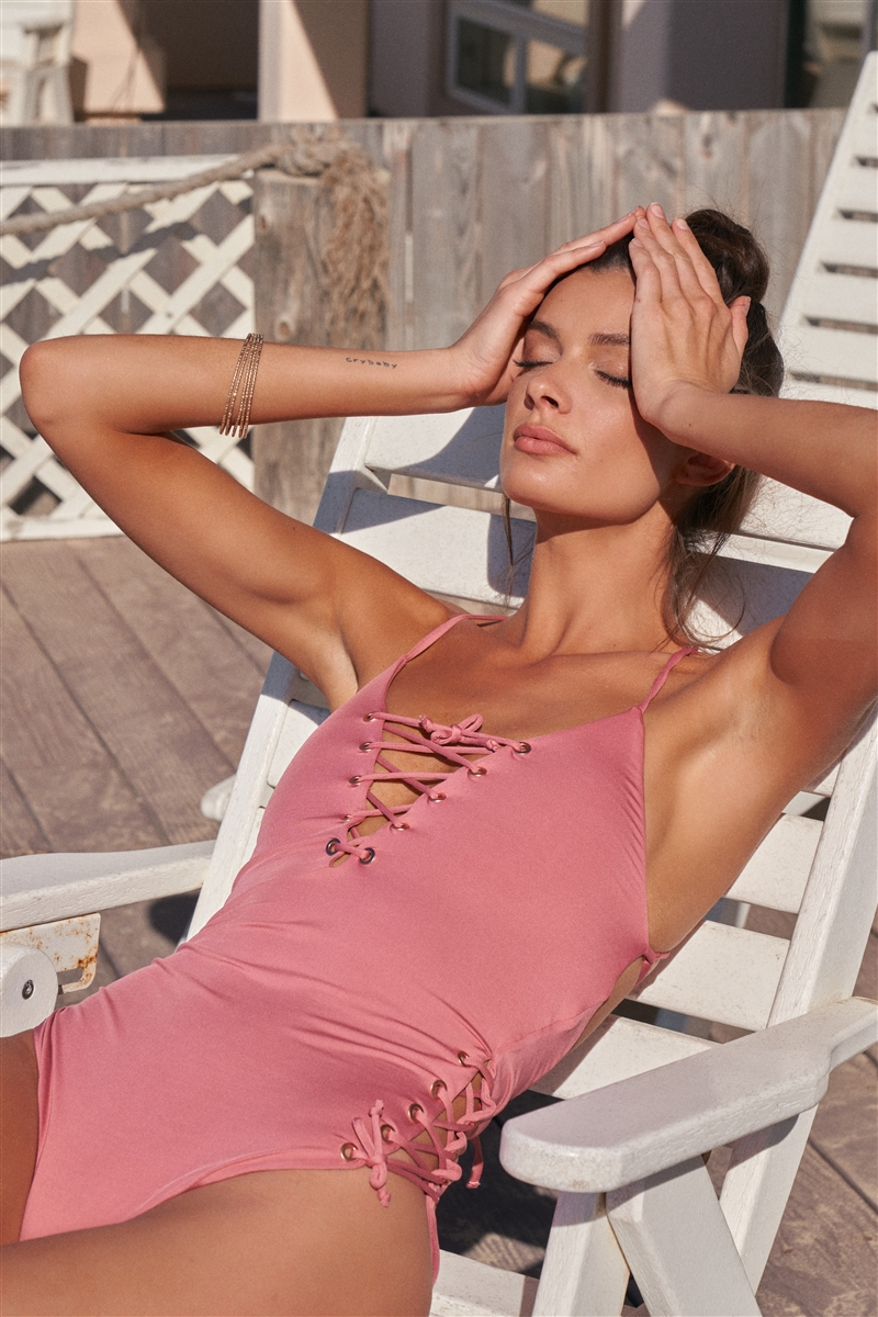 Mauve Rose Gold String Holes Self-Tie Laced Up V-Neck & Sides Detail One-Piece Swimsuit /3-3
