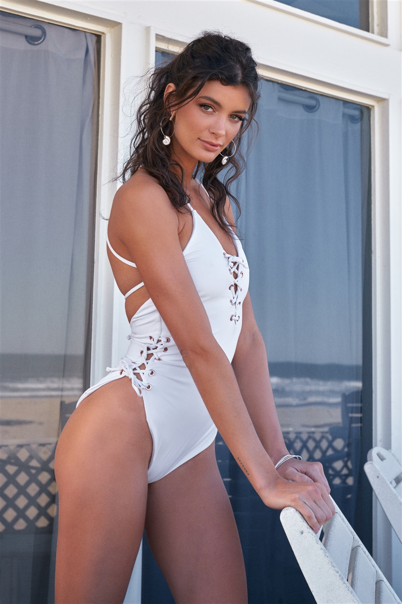Lily White Rose Gold String Holes Self-Tie Laced Up V-Neck & Sides Detail One-Piece Swimsuit /2-2
