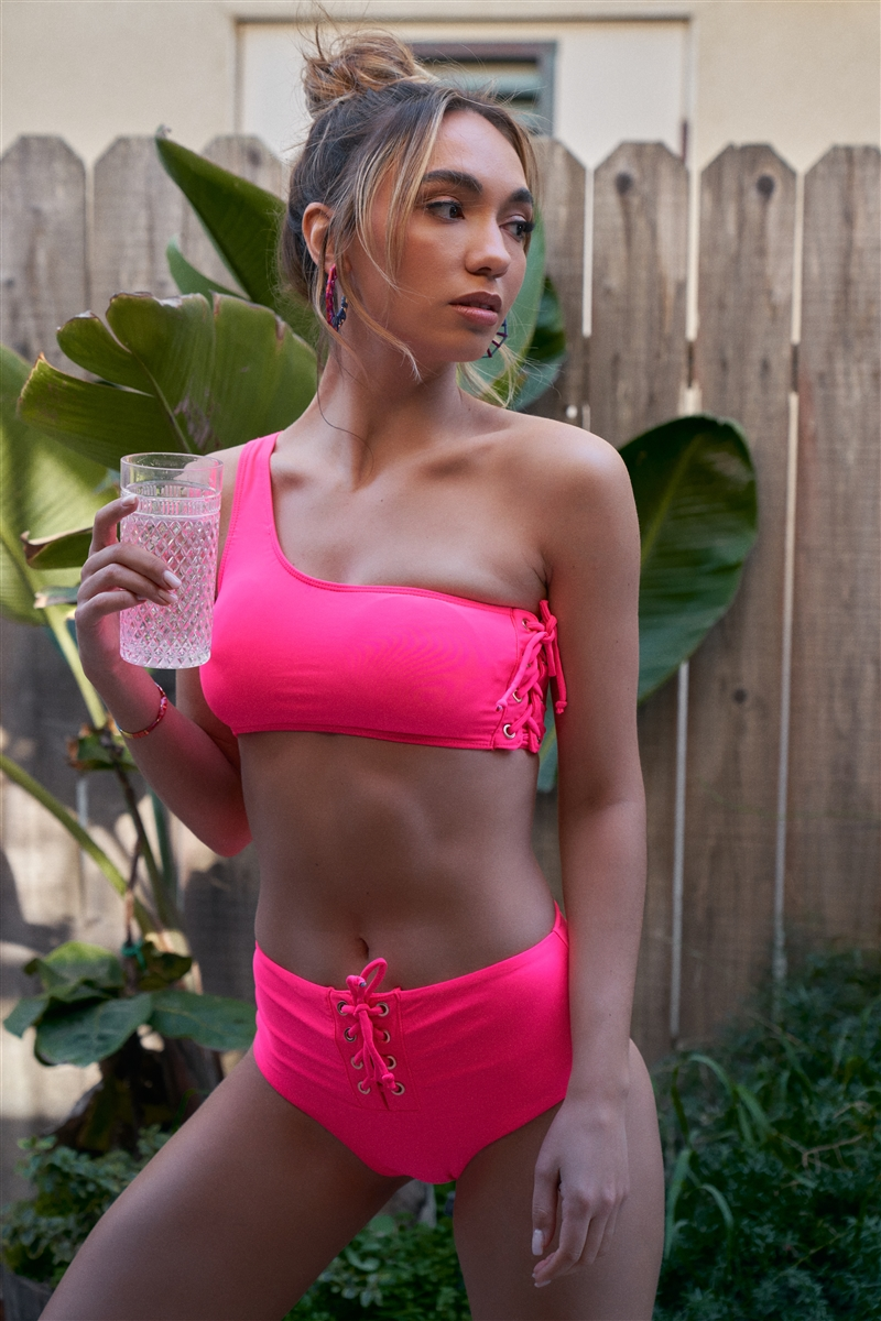 Neon Pink One-Shoulder Lace-Up Side Tube Top & High-Waisted Lace-Up Front Bikini Bottom Swimsuit /2-2-1