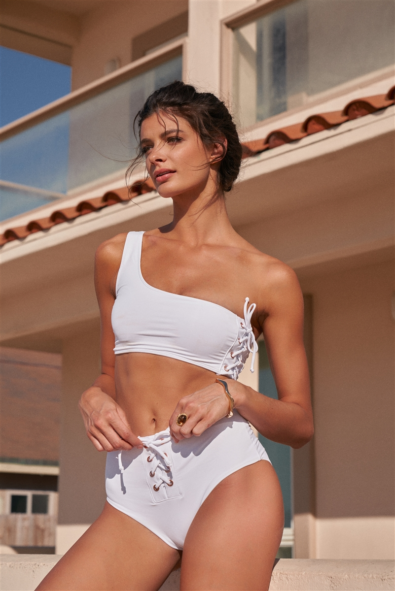 White One-Shoulder Lace-Up Side Tube Top & High-Waisted Lace-Up Front Bikini Bottom Swimsuit /2-2