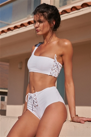 White One-Shoulder Lace-Up Side Tube Top & High-Waisted Lace-Up Front Bikini Bottom Swimsuit